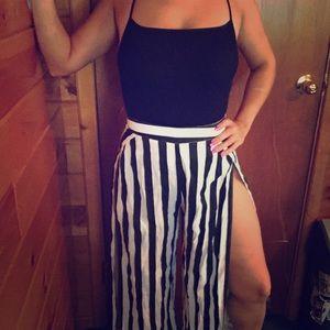 Striped Wide-Legged Pants